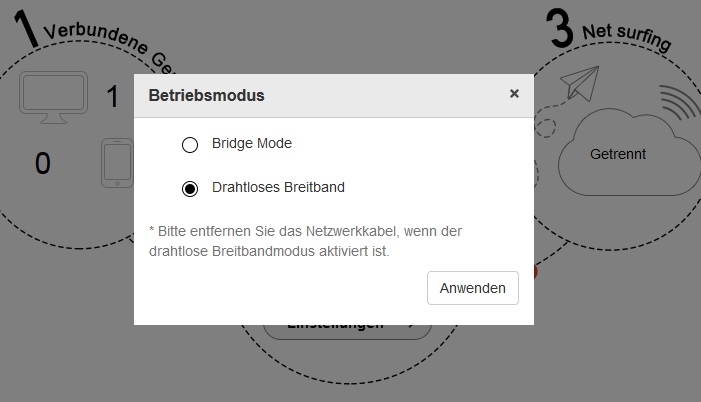 Bridge Mode Einstellungen am HuiTube