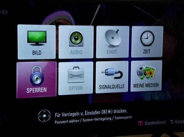 LG Fernseher Kundenmenü