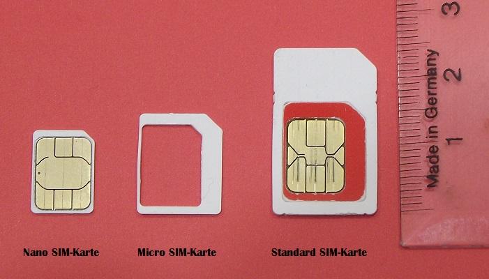 SIM-Karten Typen: Nano-SIM, Mikro-SIM, Standard-SIM Karte